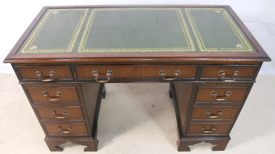 - Antique Georgian Style Mahogany Leather Top Writing Desk - SOLD