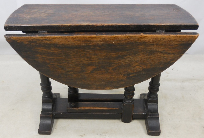 Antique Jacobean Style Oak Oval Dropleaf Coffee Table