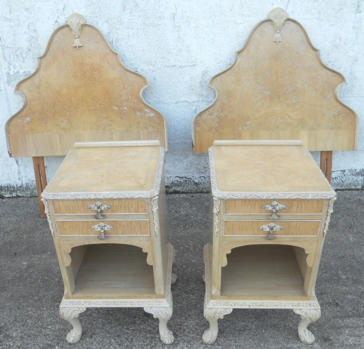 Antique queen anne style bleached walnut bedroom set sold for Queen anne style bedroom furniture