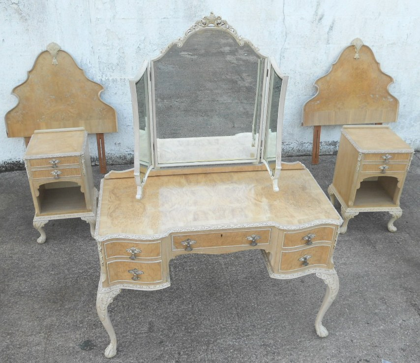 Antique Queen Anne Style Bleached Walnut Bedroom Set Sold