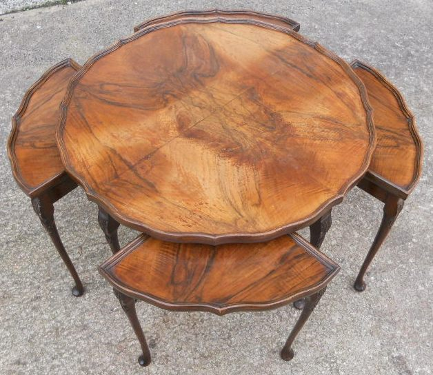 Antique Queen Anne Style Walnut Round Coffee Table With Four Inset Small Tables Sold