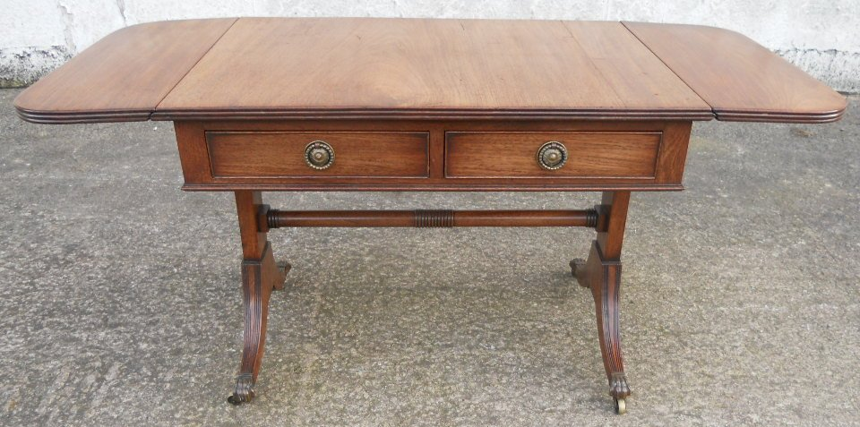 Antique regency style yew sofa dropleaf coffee table sold for Yew sofa table