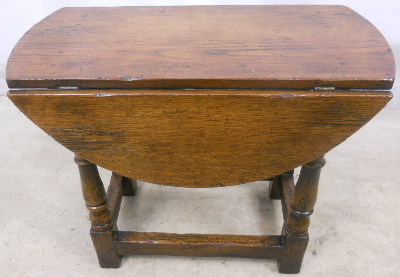 Antique Style Dark Oak Oval Dropleaf Coffee Table Sold