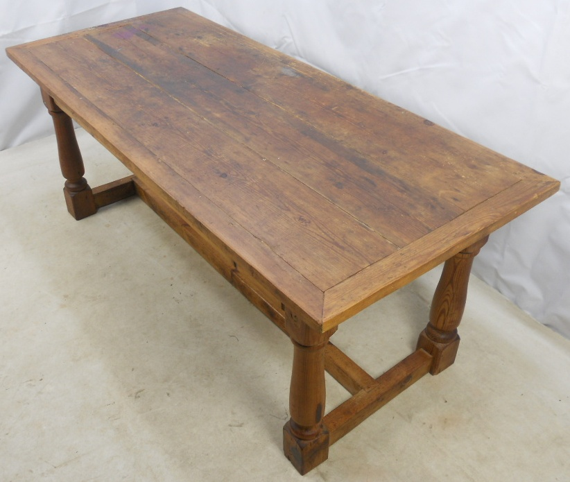 Antique Style Heavy Pine Refectory Dining Table