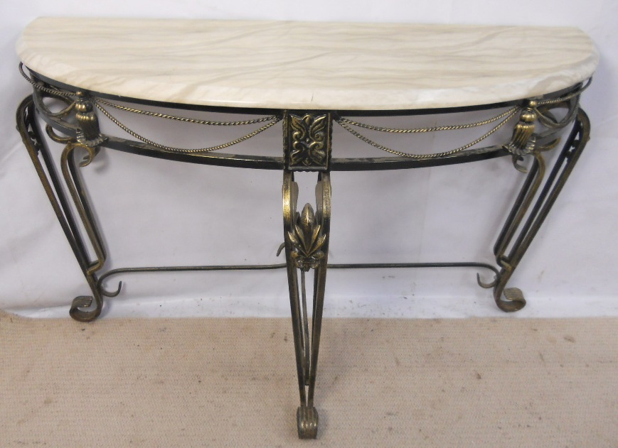 Bowfront metal base faux marble top console table sold Metal console table