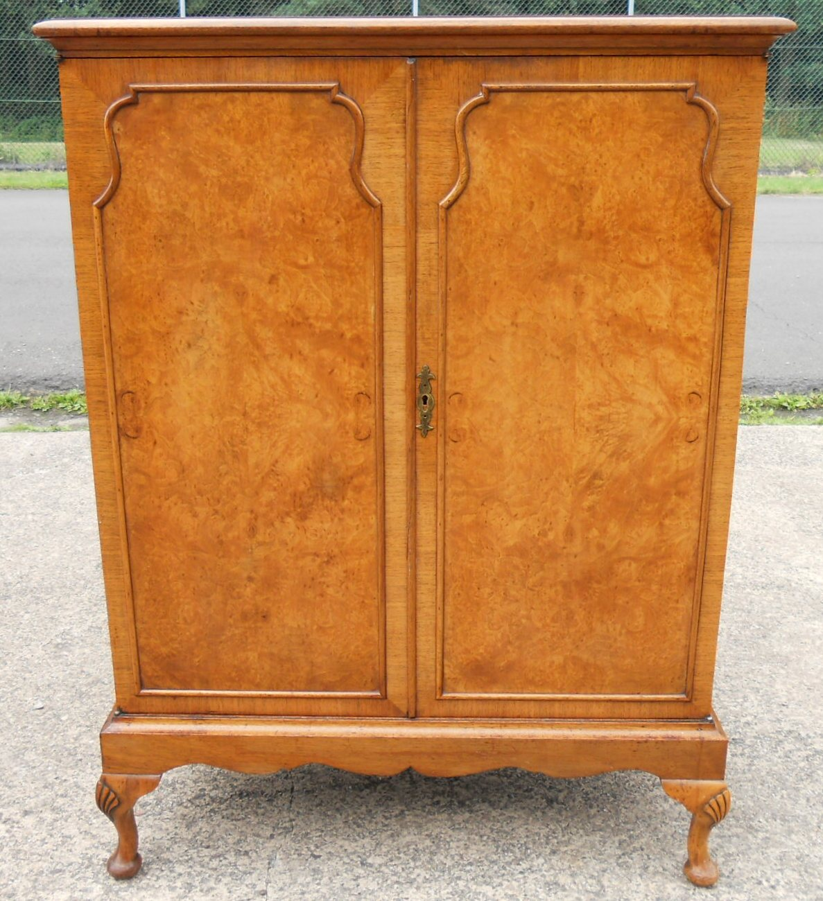 - Burr Walnut TV Cabinet In Antique Queen Anne Style - SOLD