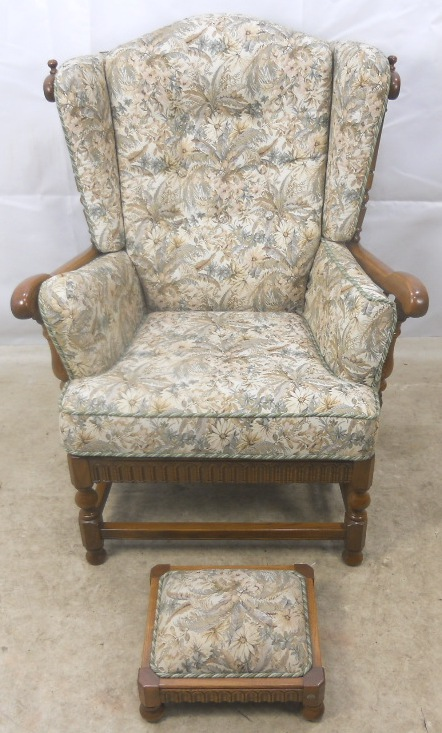 Carved Elm Upholstered Wing Armchair Old Colonial Range by  : carved elm upholstered wing armchair old colonial range by ercol 1259 p from www.harrisonantiquefurniture.co.uk size 442 x 733 jpeg 174kB