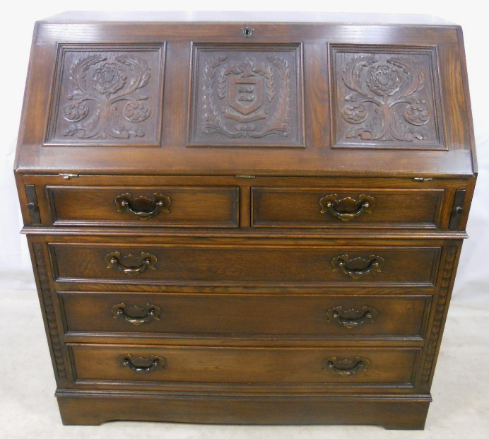 carved oak writing bureau by jaycee sold. Black Bedroom Furniture Sets. Home Design Ideas