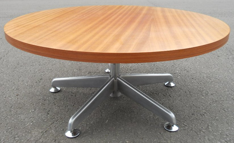 Circular Round Teak Top Chrome Base Pedestal Coffee Table