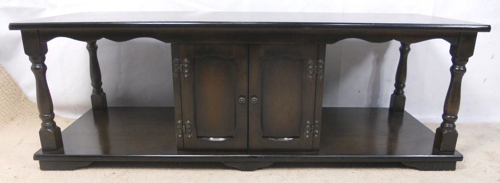 Dark beech long coffee table cabinet sold for Long coffee table with storage