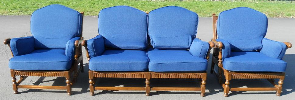 Ercol elm framed three piece upholstered lounge suite for Furniture 3 piece suites