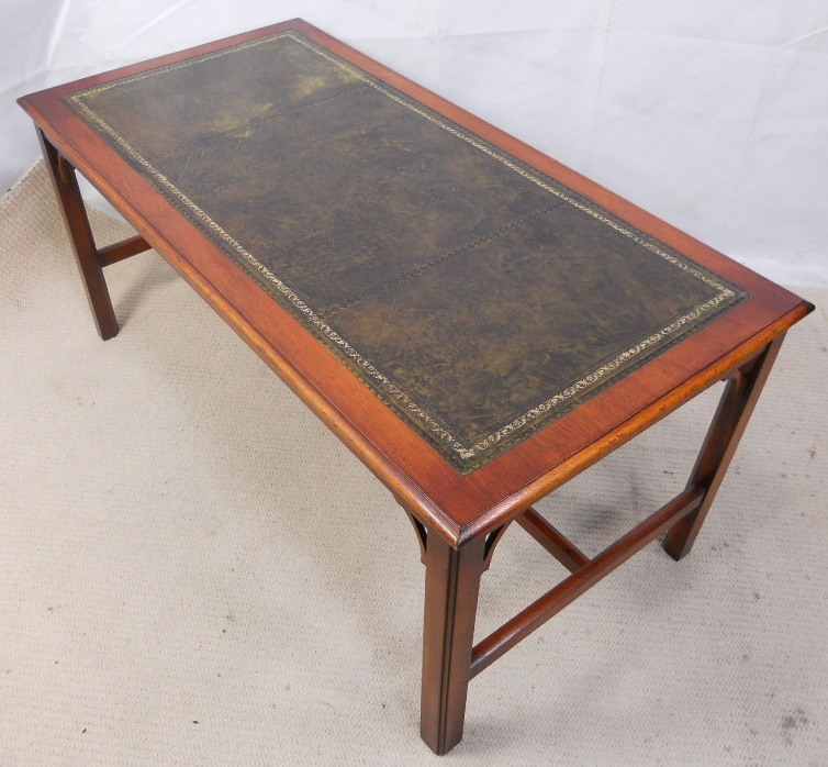 Georgian Style Leather Top Long Coffee Table