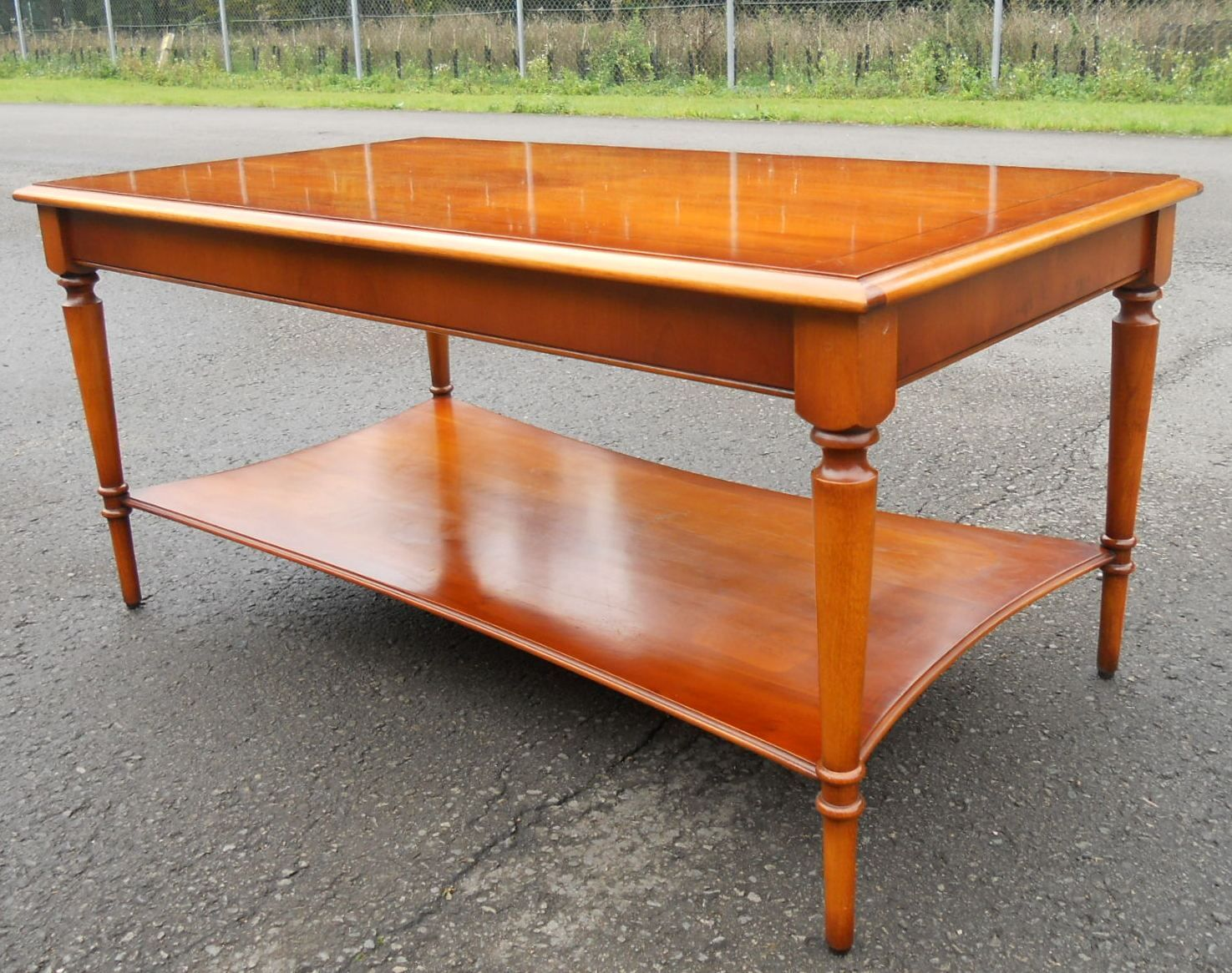 Georgian style long yew two tier coffee table by bradley for Yew sofa table