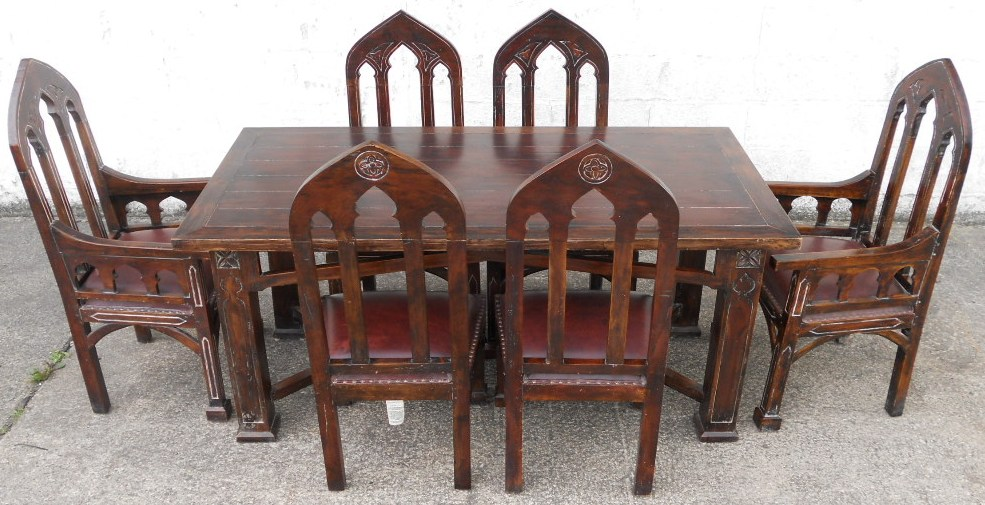 Gothic Style Mahogany Dining Room Set SOLD : gothic style mahogany dining room set sold 2352 p from www.harrisonantiquefurniture.co.uk size 985 x 505 jpeg 199kB