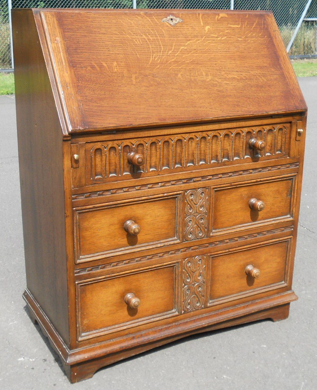 jacobean style oak writing bureau. Black Bedroom Furniture Sets. Home Design Ideas