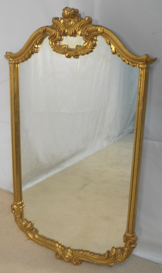 Large antique style gilt hanging wall mirror for Hanging a large mirror
