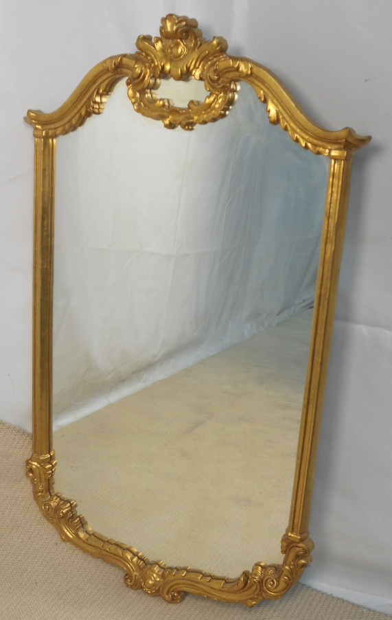 Large antique style gilt hanging wall mirror for Antique style wall mirror