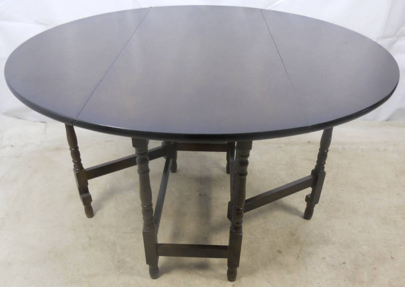Large Dark Beech Round Gateleg Dining Table Sold