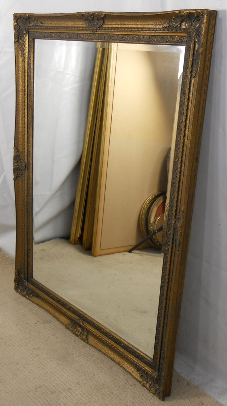 Large dark gilt framed hanging wall mirror for Big framed mirror