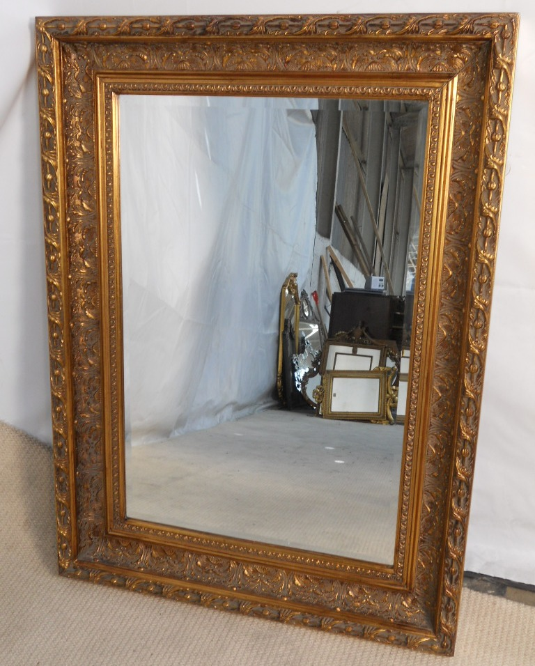 Large gilt framed hanging wall mirror for Large mirror on wall