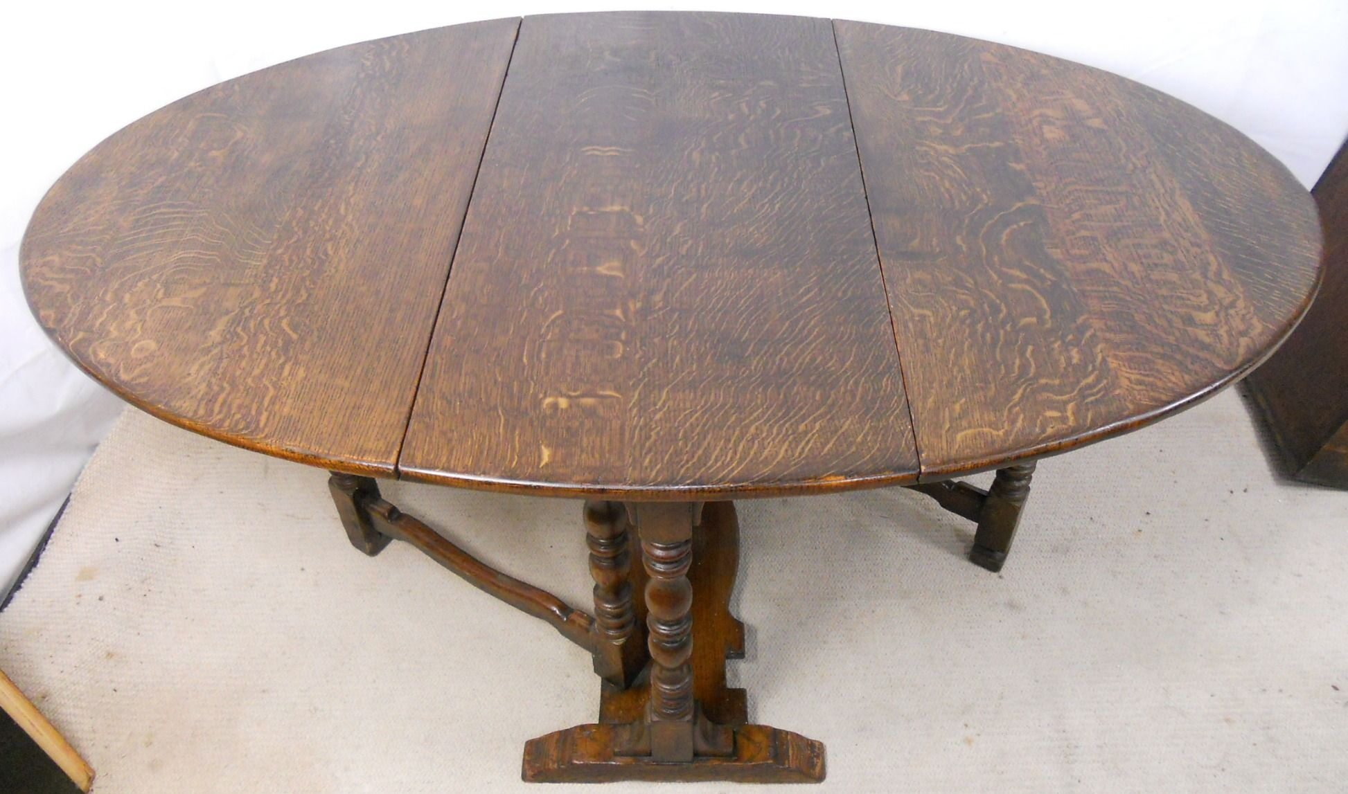 Heavy Quality Antique Style Oak Dropleaf Dining Table To Seat Six. Full resolution  image, nominally Width 1946 Height 1147 pixels, image with #966735.