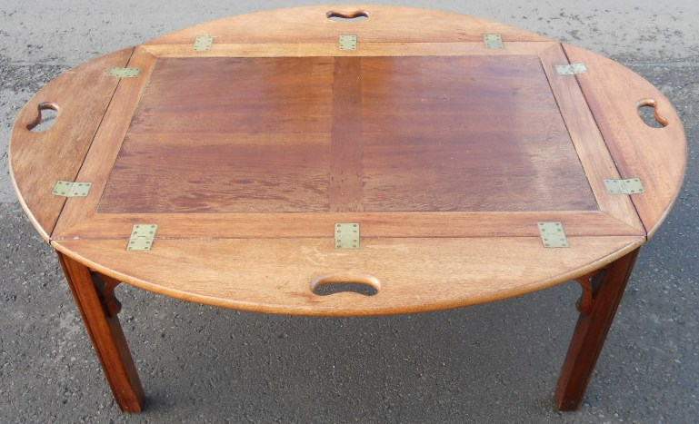 Large Mahogany Tray Top Coffee Table