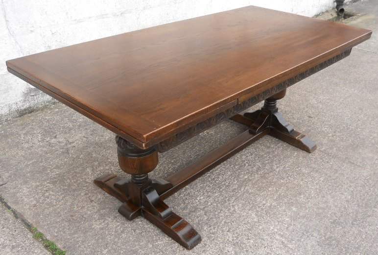 Large Oak Refectory Drawleaf Dining Table To Seat Ten Sold