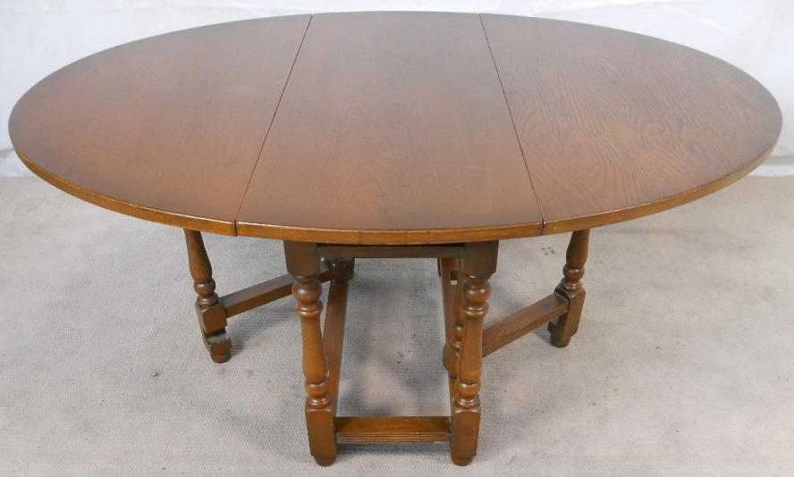 Large Oval Oak Gateleg Dining Table By Old Charm To Seat Six Eight