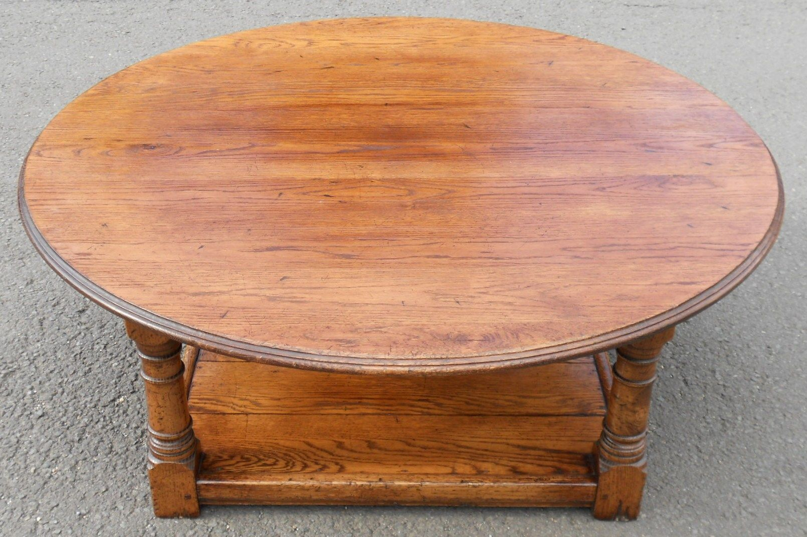 Large Round Oak Coffee Table Sold
