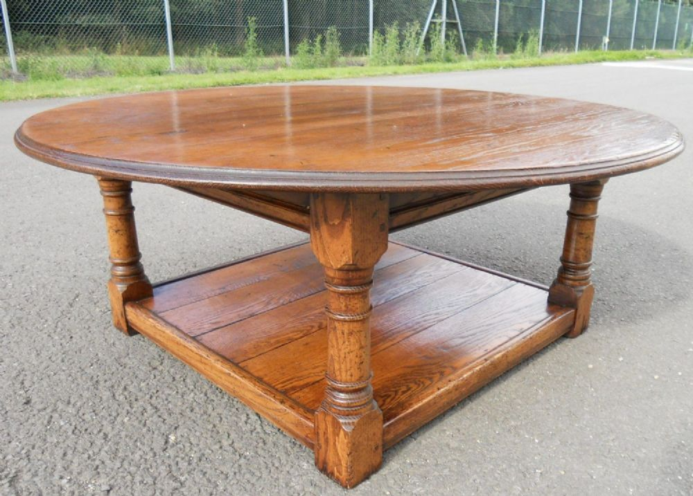 Large round oak coffee table sold for Coffee tables oak