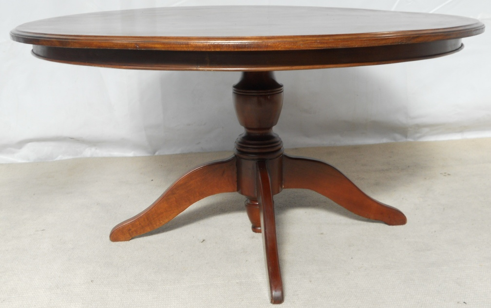 large round pedestal mahogany dining table to seat eight