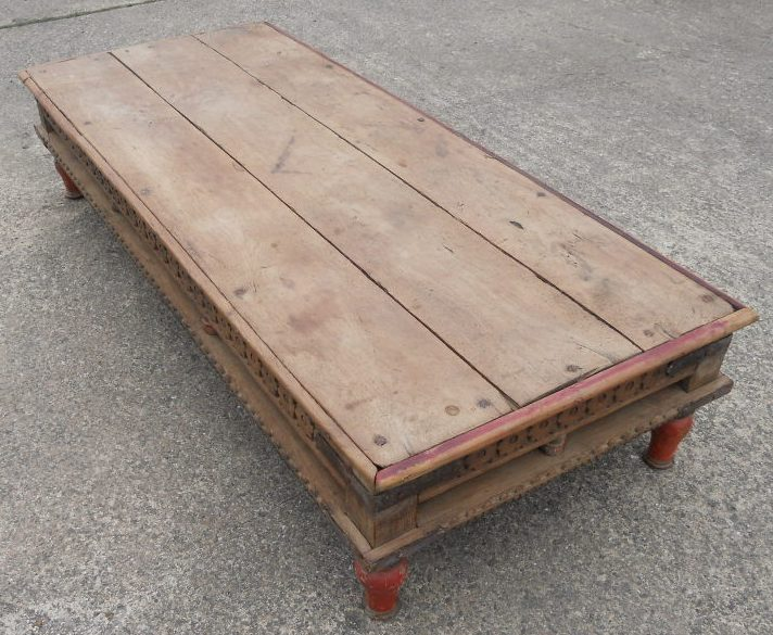 Large Rustic Style Wood Coffee Table Sold