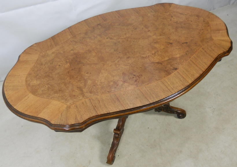 Large Shaped Victorian Style Walnut Coffee Table Sold