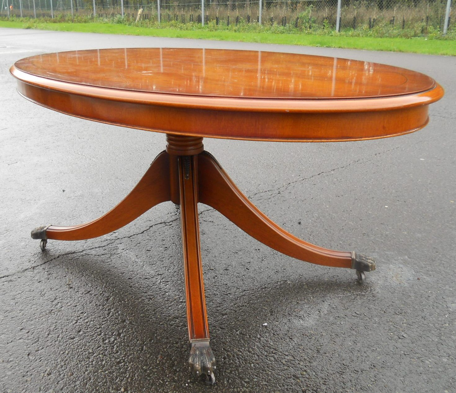 Large Oval Wood Coffee Table: Large Yew Oval Pedestal Coffee Table By Bradley