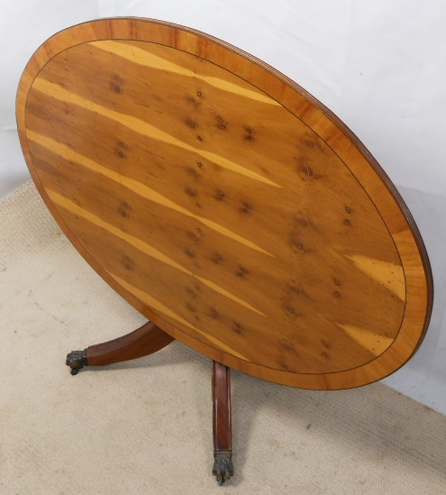 Large Oval Wood Coffee Table: Large Yew Wood Oval Pedestal Coffee Table