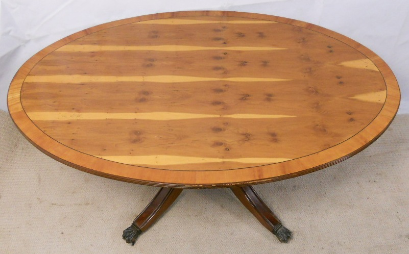 Large yew wood oval pedestal coffee table Wood oval coffee table