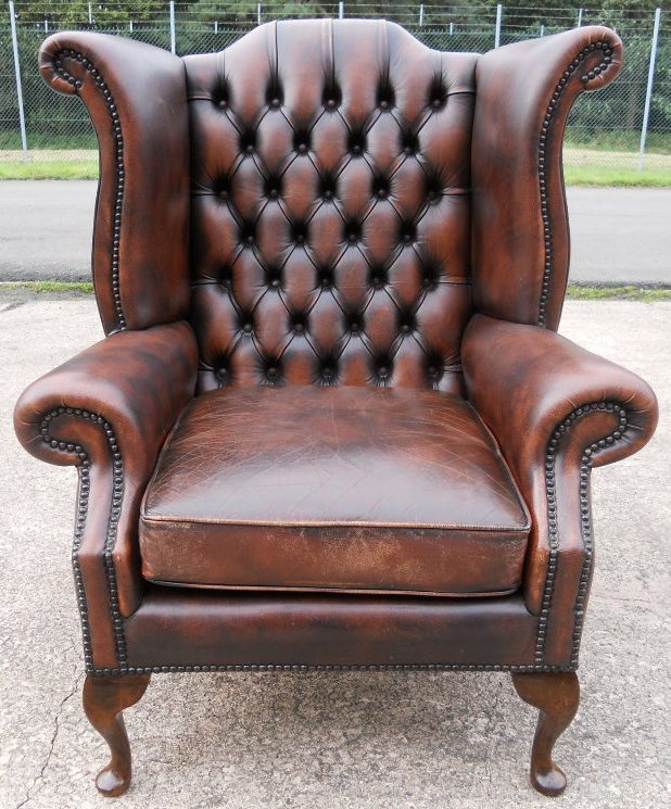 Leather Wing Armchair With Deep Buttoned Back Sold