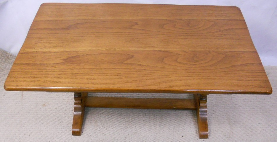 Light Oak Refectory Style Long Coffee Table With Carved Base