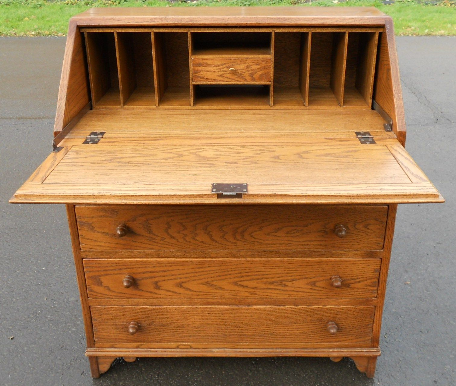 light oak writing bureau desk by jaycee sold. Black Bedroom Furniture Sets. Home Design Ideas