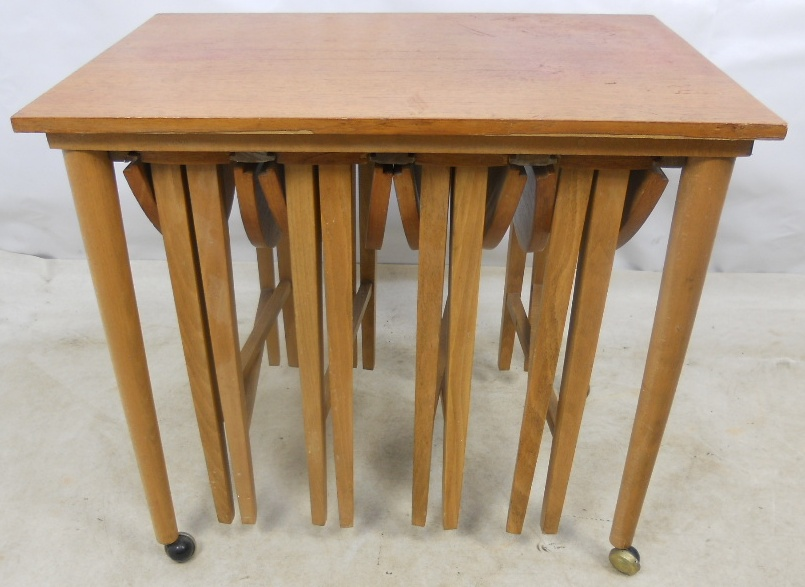 Teak Nesting Tables ~ Light teak nest of dropleaf coffee tables sold