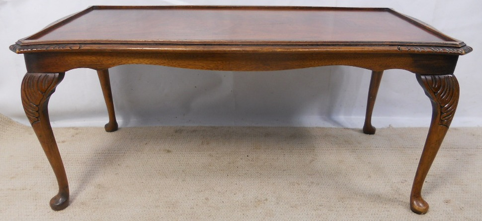 Long Mahogany Coffee Table In Queen Anne Style Sold