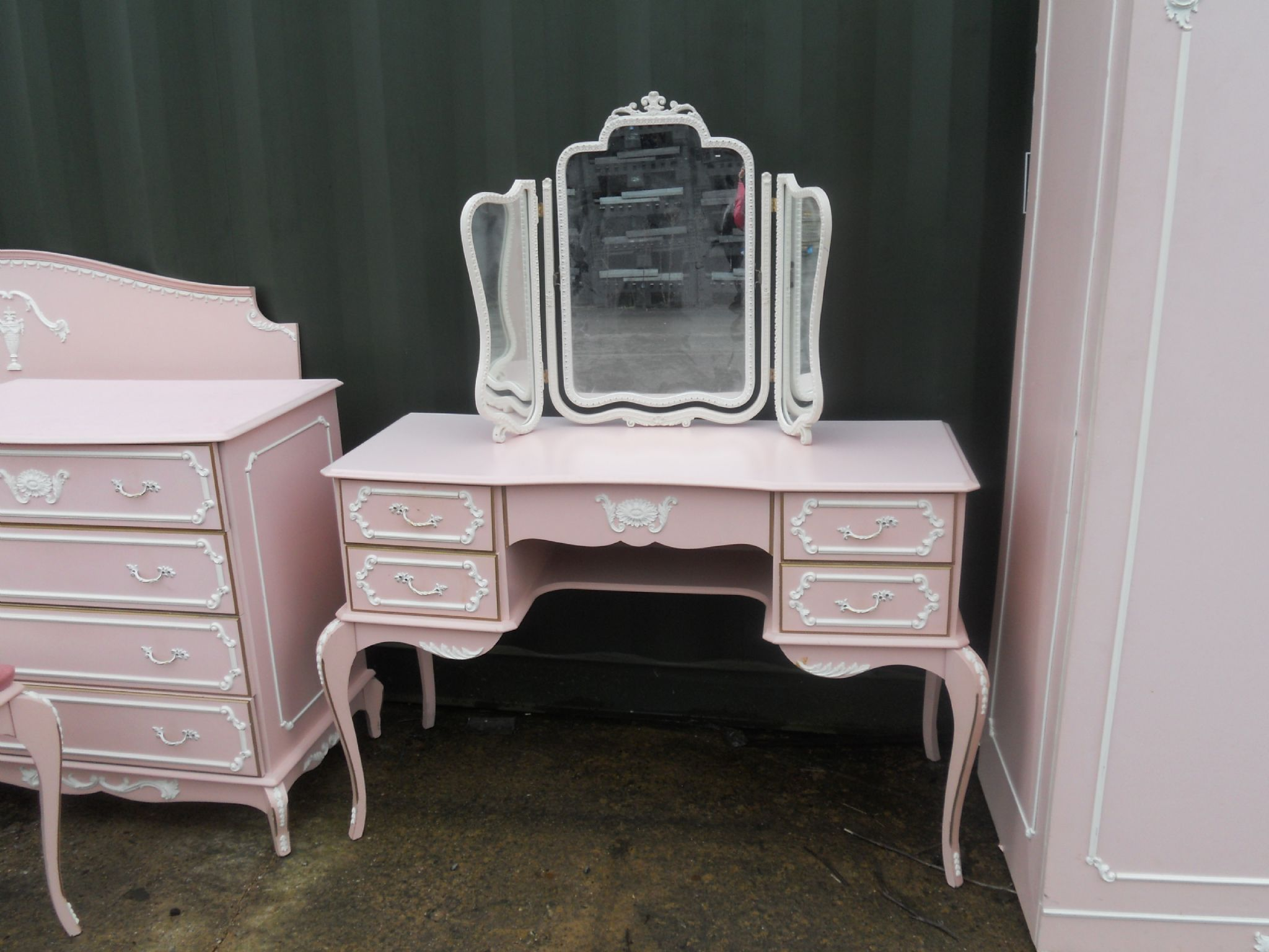 Louis Style Five Piece Pink Painted Bedroom Suite