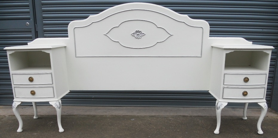 Louis Style White Painted Double Bedhead With Attached
