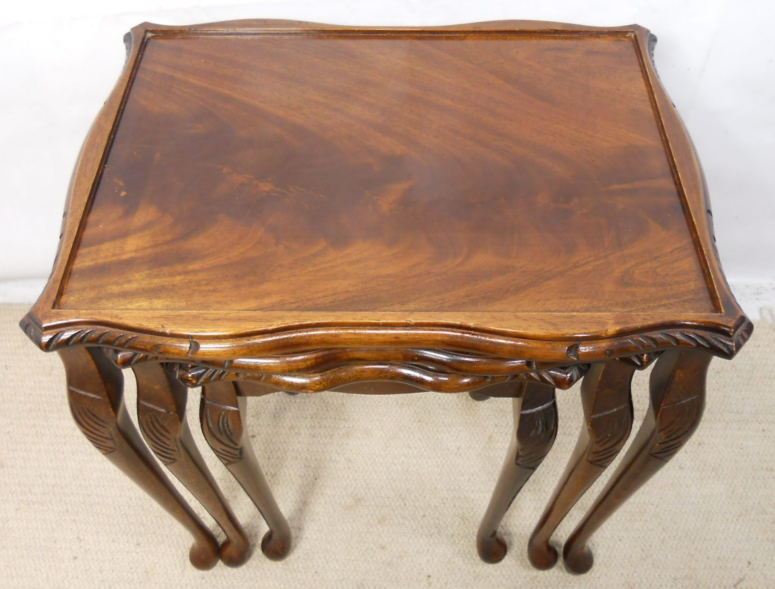 Mahogany Nest Of Three Queen Anne Style Coffee Tables Sold