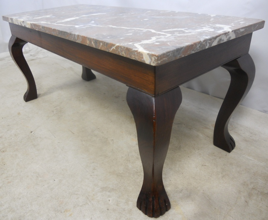 Marble top mahogany coffee table sold for Stone topped coffee tables