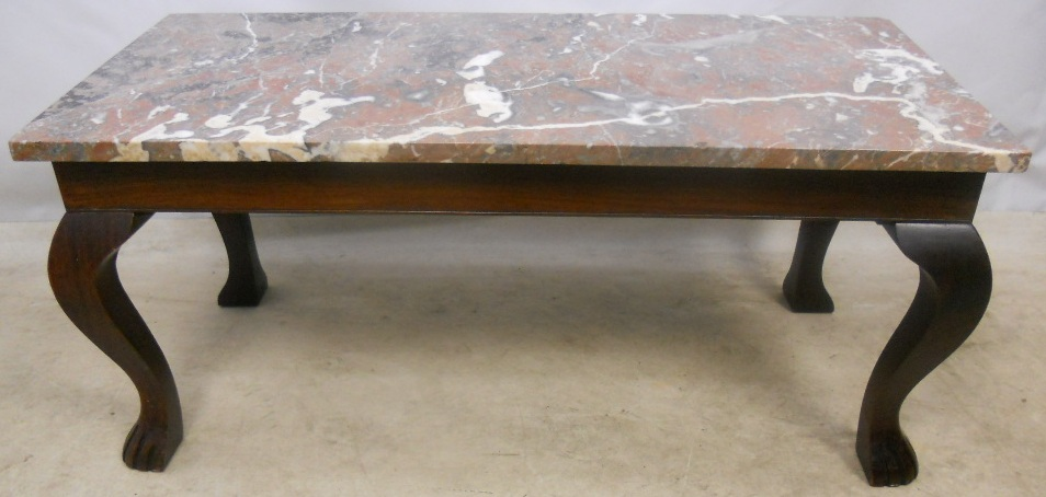 Marble Top Mahogany Coffee Table Sold