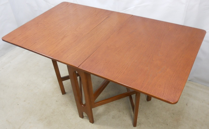 Narrow Teak Dropleaf Dining Table To Seat Six SOLD