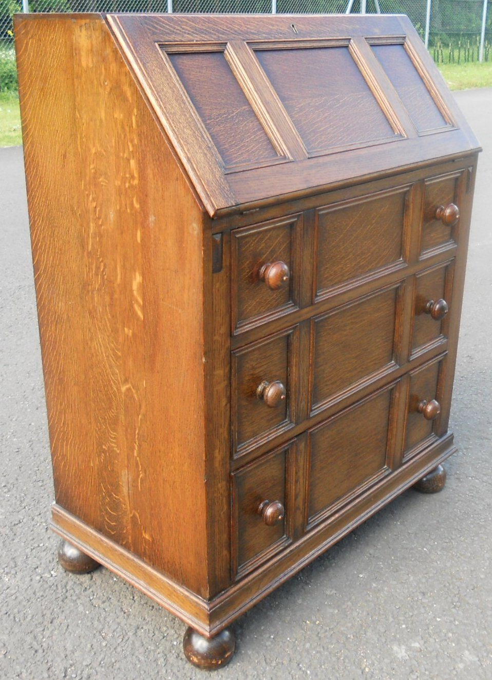 oak jacobean style writing bureau sold. Black Bedroom Furniture Sets. Home Design Ideas