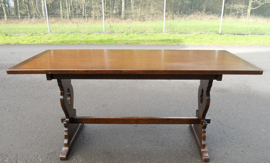 Oak Trestle Refectory Dining Table To Seat Six