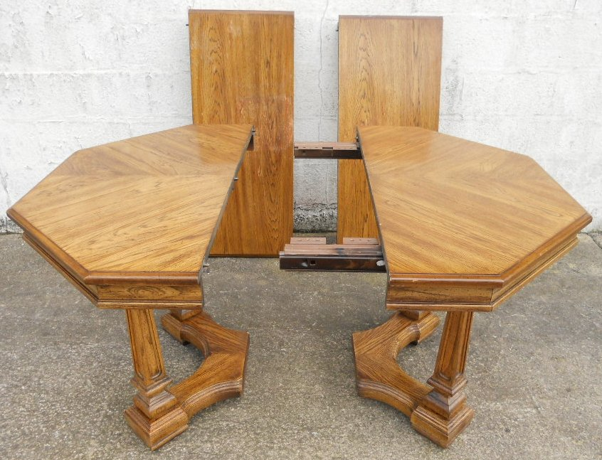 Octagonal Light Oak Extending Pedestal Dining Table to